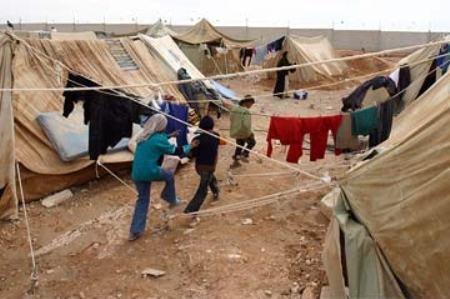 Campo de refugiados no Líbano